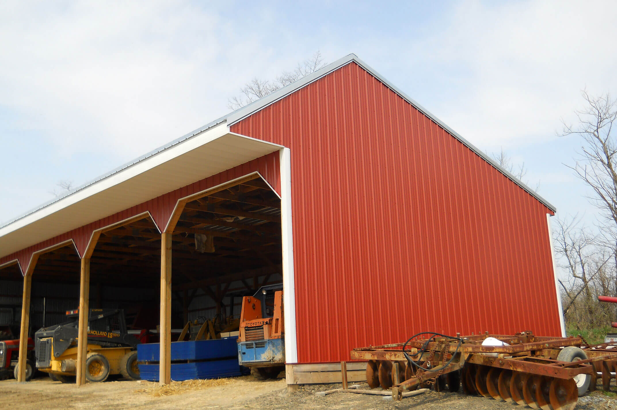 3 Sided Pole Building With Shed Style Roof Project By Apm